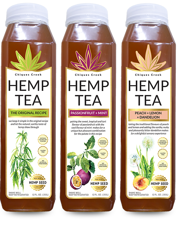 bottles of hemp tea