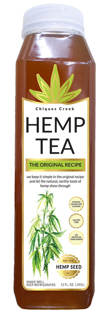 Hemp tea bottle, original flavor