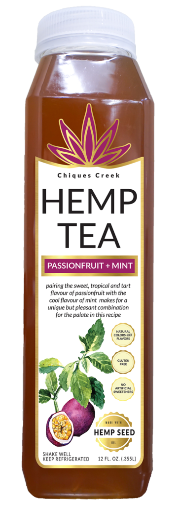Hemp tea bottle, passion fruit flavor