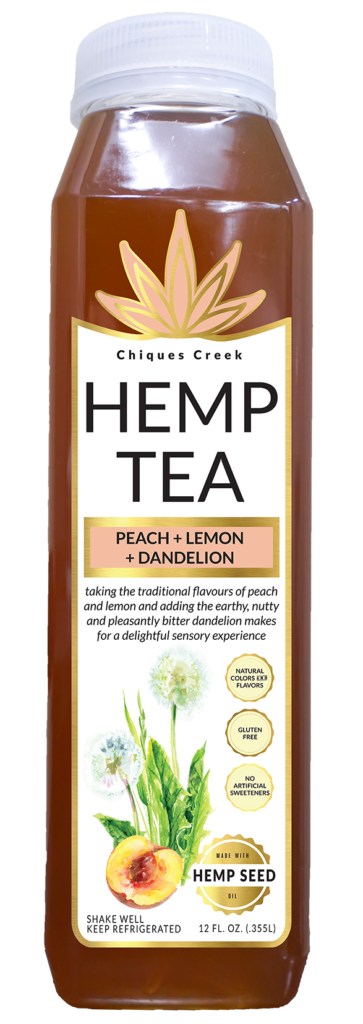 hemp tea bottle, peach flavor