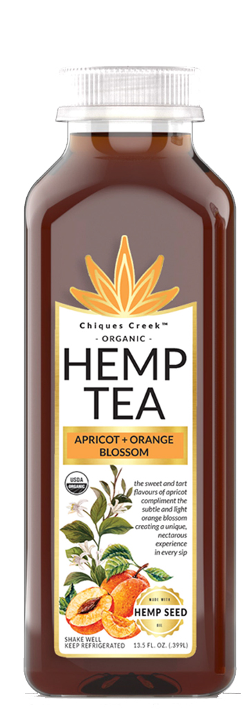 Hemp tea bottle, apricot orange blossom flavor